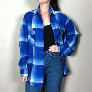 Vintage 1980s Plaid Flannel Shacket Shirt